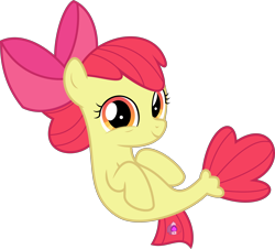 Size: 5498x4972   Tagged: safe, artist:jhayarr23, apple bloom, earth pony, seapony (g4), surf and/or turf, absurd resolution, bow, female, filly, mane bow, seaponified, seapony apple bloom, simple background, smiling, solo, species swap, transparent background, vector