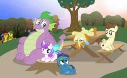 Size: 3867x2377   Tagged: safe, artist:aleximusprime, pound cake, princess flurry heart, pumpkin cake, spike, oc, oc:annie smith, oc:apple chip, oc:storm streak, alicorn, dragon, earth pony, pegasus, pony, unicorn, flurry heart's story, adult, adult spike, apple, apple orchard, apple tree, basket, bow, chubby, fat spike, hair bow, high res, lying down, mouth hold, offspring, older, older flurry heart, older pound cake, older pumpkin cake, older spike, orchard, parent:applejack, parent:oc:thunderhead, parent:rainbow dash, parent:tex, parents:canon x oc, parents:texjack, picnic basket, picnic table, sunset, table, tree, tree stump