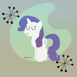 Size: 640x640 | Tagged: safe, artist:sircheesely, rarity, pony, unicorn, abstract background, eyes closed, female, signature