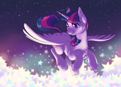 Size: 4634x3309 | Tagged: safe, artist:taytinabelle, twilight sparkle, alicorn, pony, abstract background, beautiful, chest fluff, cute, ear fluff, female, flying, happy, high res, leg fluff, lighting, looking down, mare, night, shiny eyes, sky, smiling, solo, spread wings, stars, twilight sparkle (alicorn), unshorn fetlocks, wings