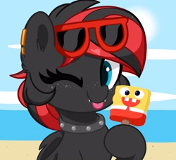 Size: 4096x3730   Tagged: source needed, safe, artist:kittyrosie, oc, oc only, oc:sharpe, bat pony, pony, :p, bat pony oc, beach, bust, collar, commission, cute, fangs, female, food, freckles, looking at you, mare, one eye closed, piercing, popsicle, portrait, solo, spongebob squarepants, sun, sunglasses, tongue out, wink, ych result