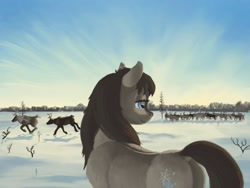 Size: 1600x1200 | Tagged: safe, artist:escapisttwi, oc, oc only, oc:frosty flakes, deer, pony, reindeer, yakutian horse, dock, scenery, snow, snow mare