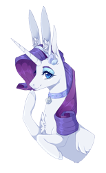 Size: 872x1416 | Tagged: safe, artist:luuny-luna, rarity, pony, unicorn, bell, bell collar, bunny ears, bust, collar, portrait, simple background, solo, transparent background