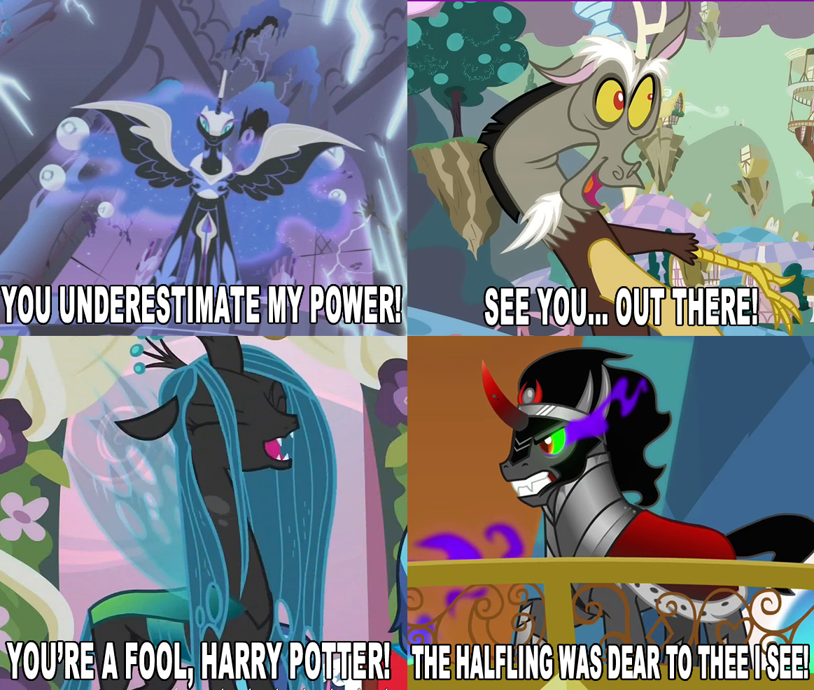 Queen Chrysalis And Nightmare Moon And Discord