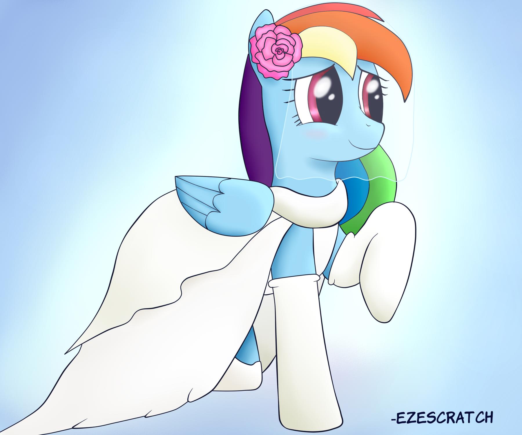My Little Pony Wedding: Artist:ezescratch, Dress, Rainbow Dash, Safe