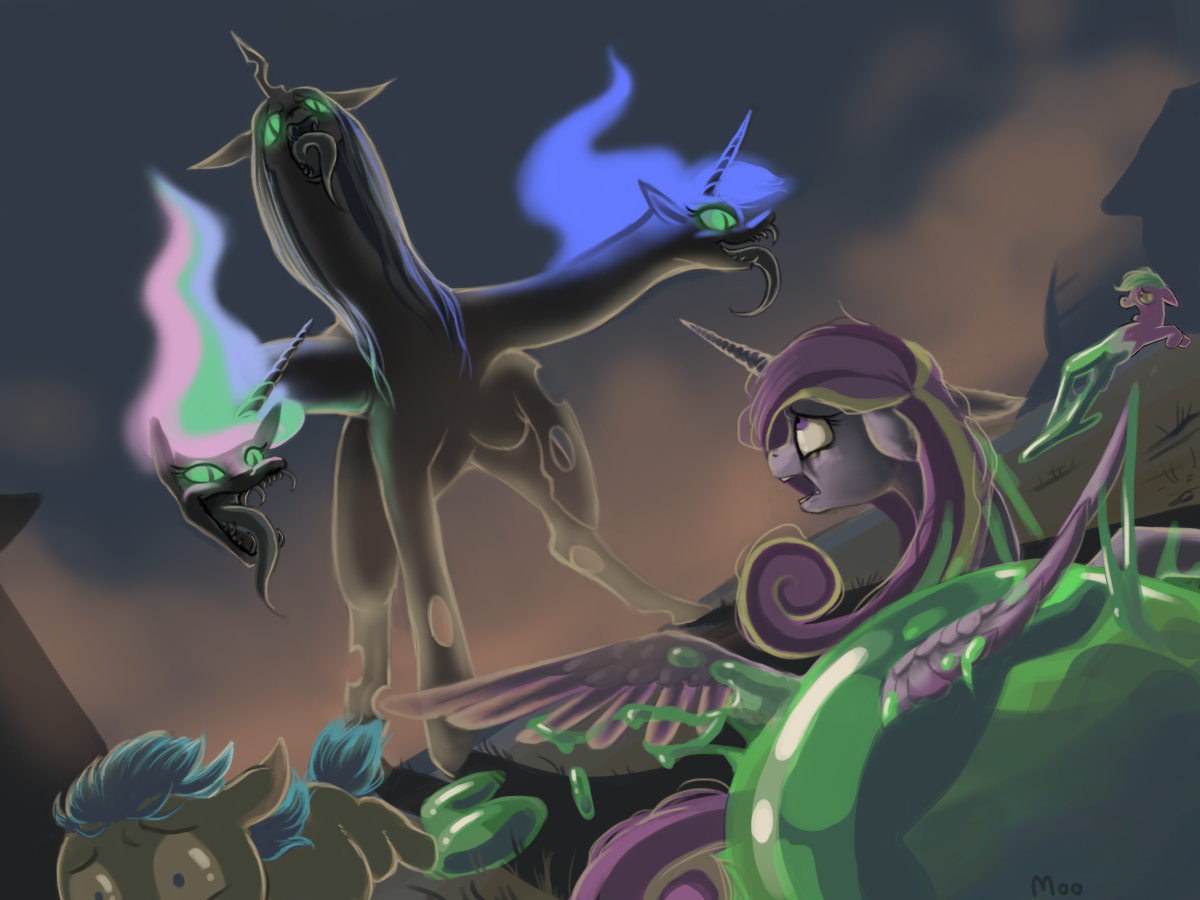 #378308 - antagonist, artist:moo, bad end, fusion, goo ...