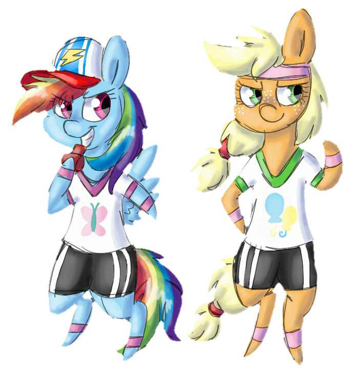 Anthro applejack and rainbow dash - photo#23