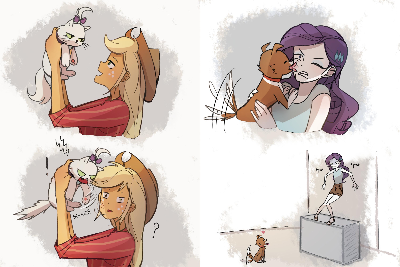 #2168690 - applejack, artist:tcn1205, cat, dog, edit