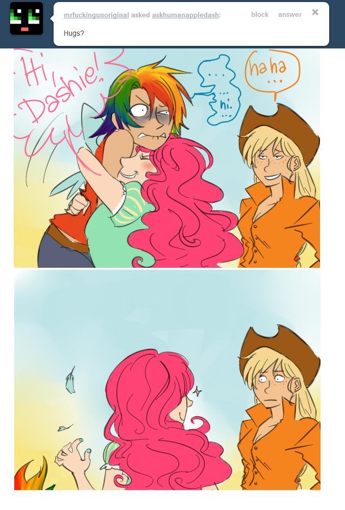 Safe Rainbow Dash Pinkie Pie Applejack Humanized Ask Hug Artist Colon Schpog Human Appledash Rian Ngentot