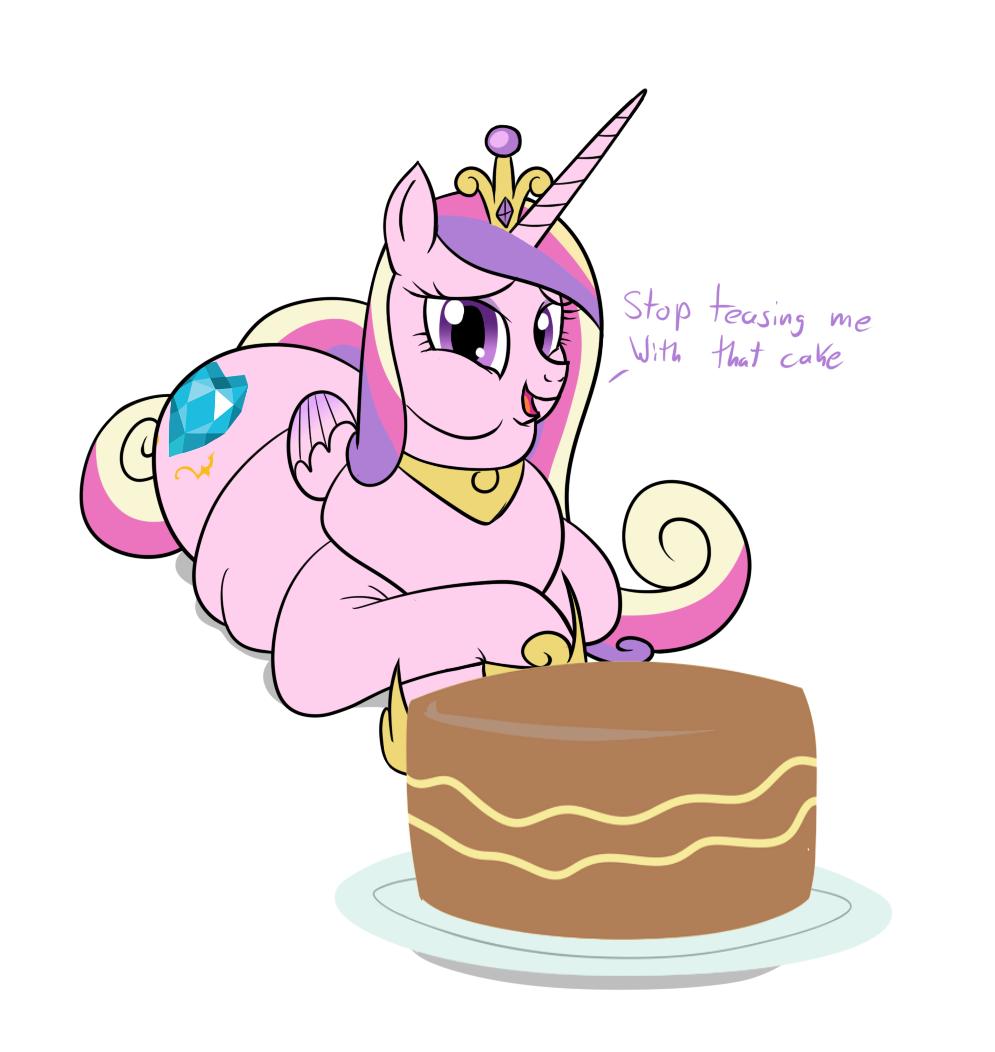 , cake, chubby cheeks, double chin, fat, princess cadance, princess ...