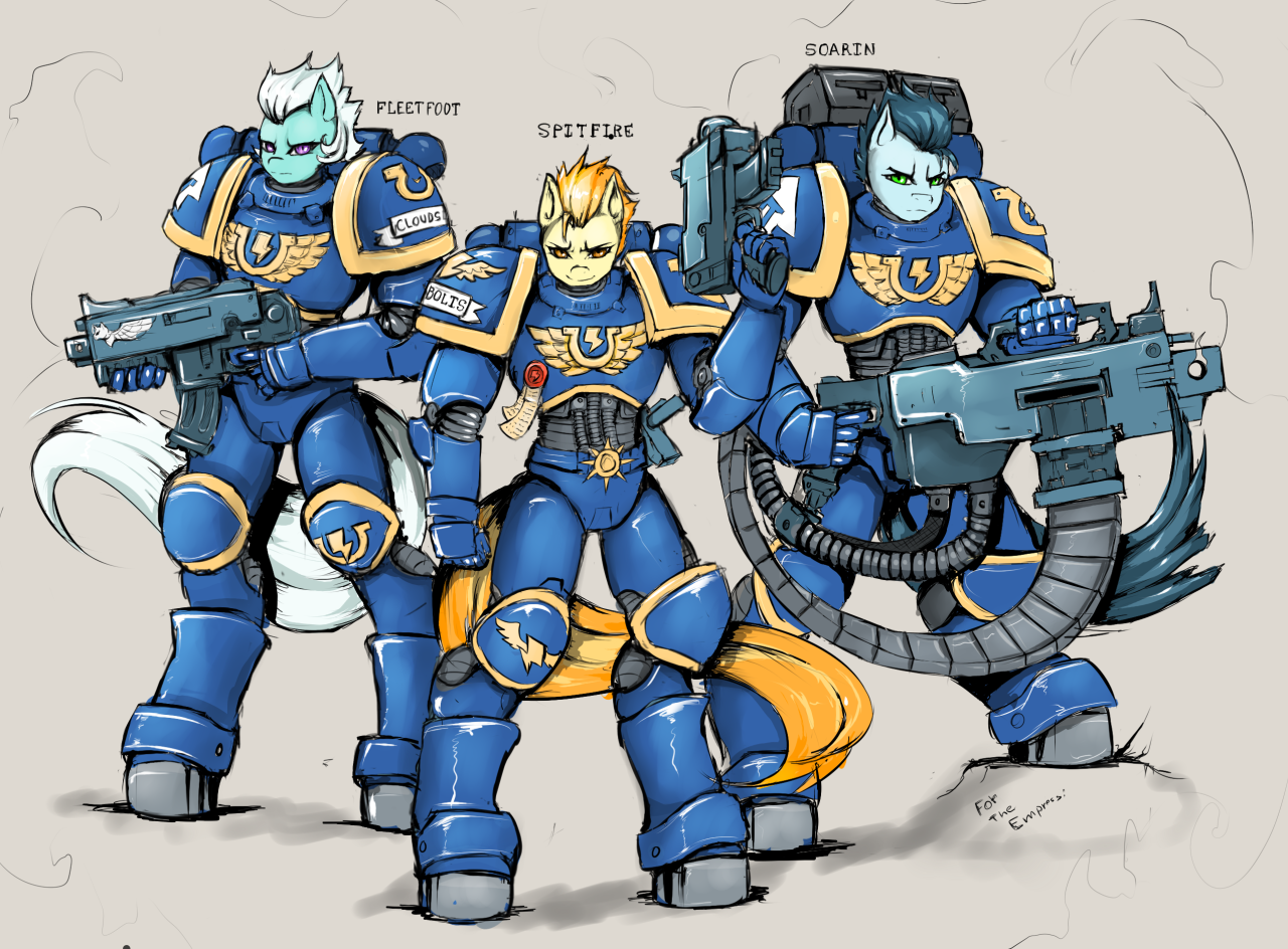 https://derpicdn.net/img/view/2015/5/13/895137__safe_anthro_crossover_soarin%27_spitfire_wonderbolts_warhammer+40k_fleetfoot_space+marine_power+armour.png