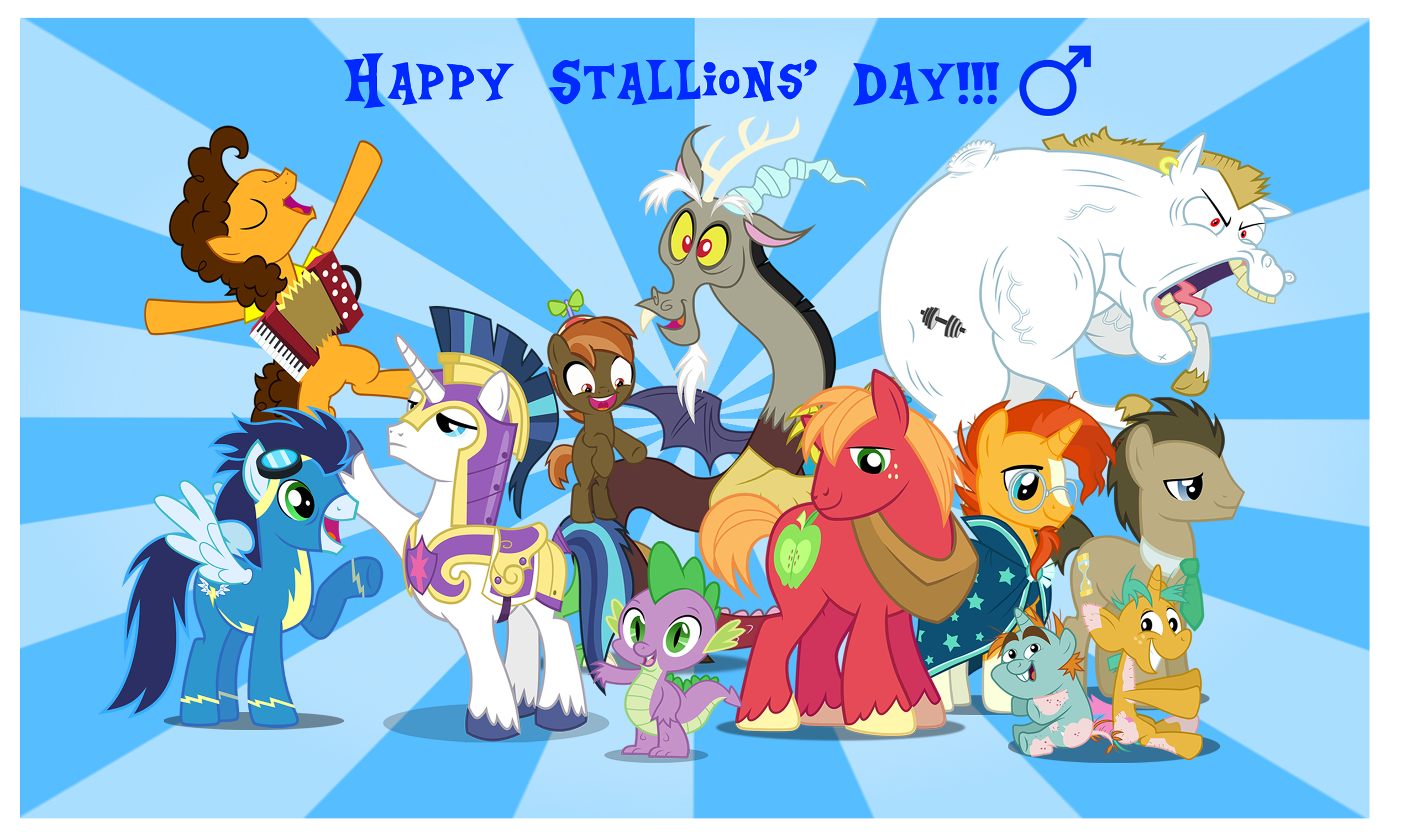 1299344__safe_spike_discord_big+macintosh_shining+armor_soarin%27_doctor+whooves_male_stallion_snails.png