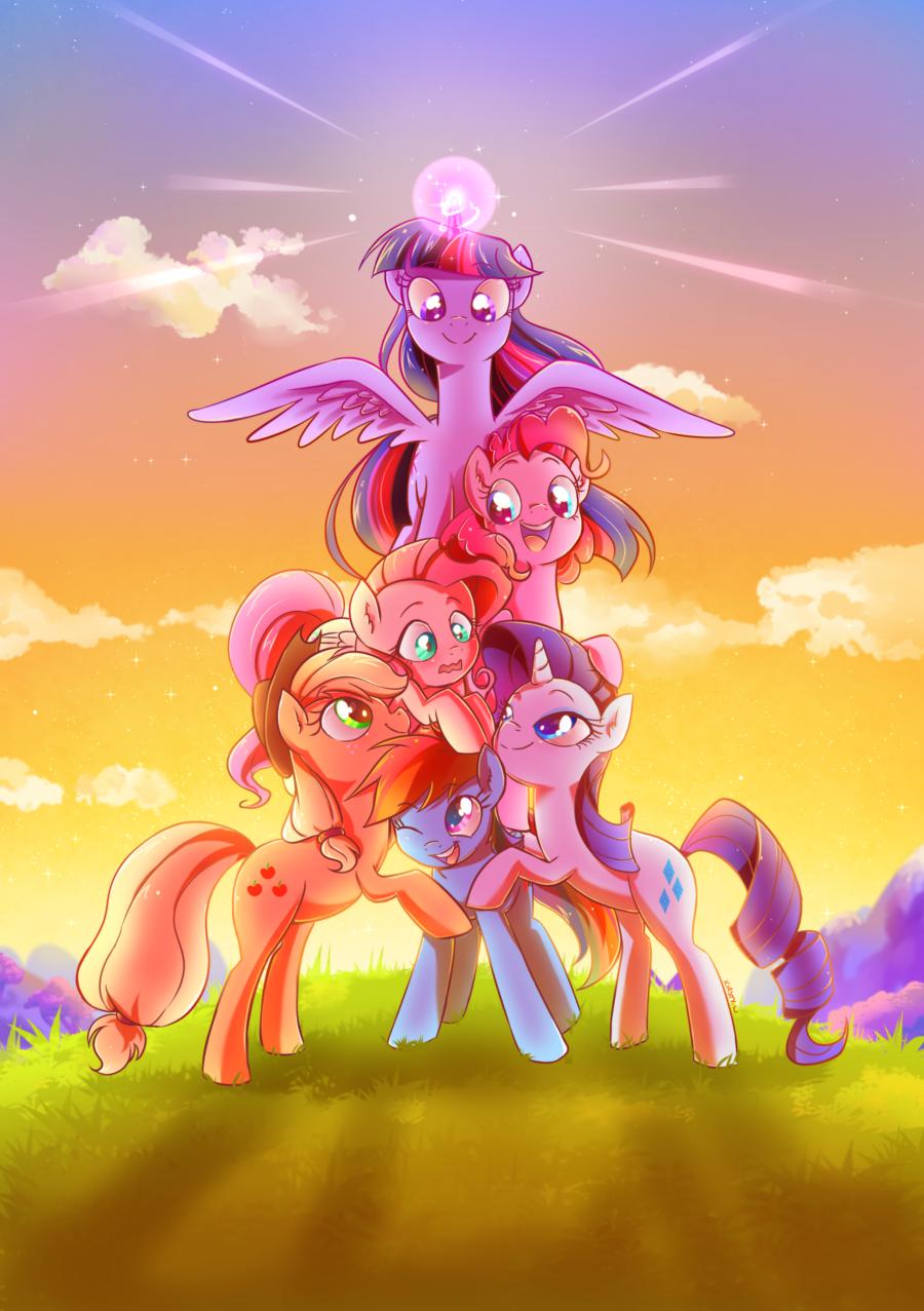 1240030__safe_twilight+sparkle_rainbow+dash_pinkie+pie_fluttershy_rarity_applejack_cute_smiling_princess+twilight.png