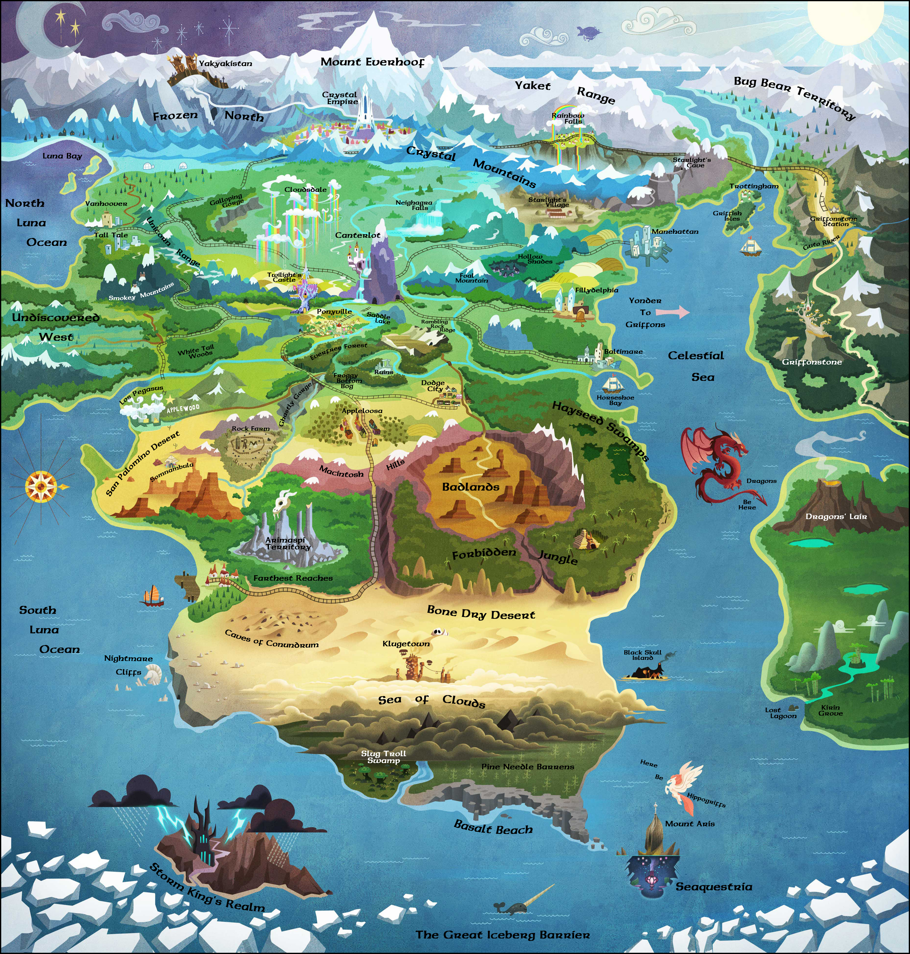 Updated World Map And Timeline Of Events Spoilers Fimfiction - Updated world map