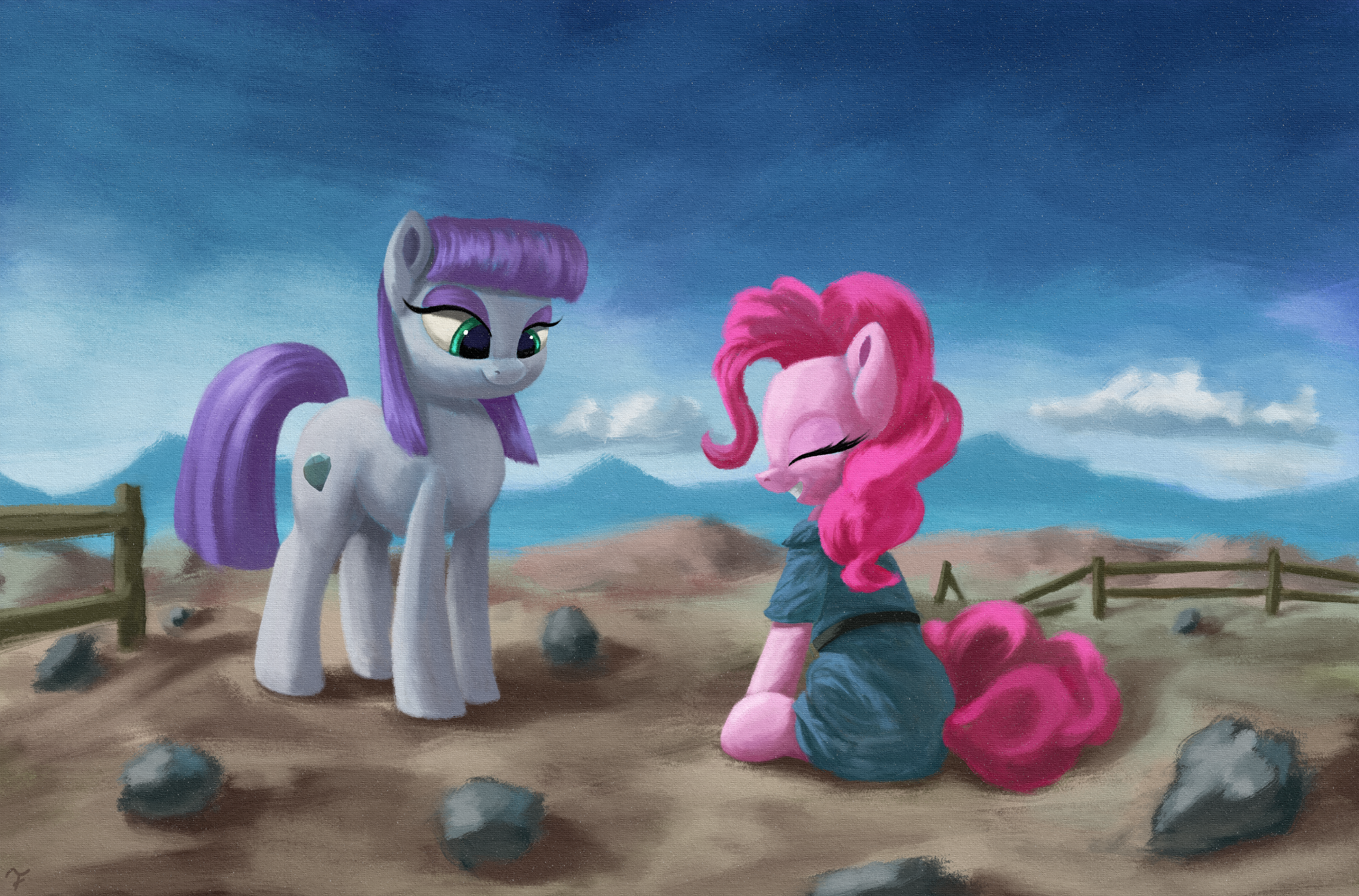 2620813__safe_artist-colon-flusanix_maud+pie_pinkie+pie_earth+pony_pony_clothes_clothes+swap_dress_duo_eyes+closed_female_grin_high+res_mare_rock+farm_siblings_.png